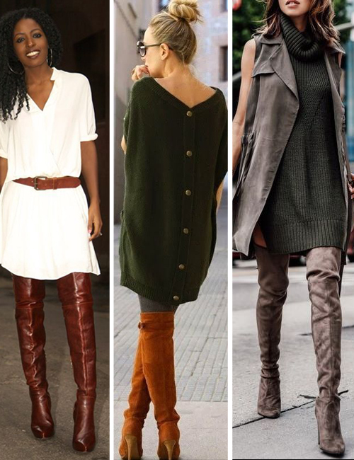 how to wear over the knee boots with a tunic