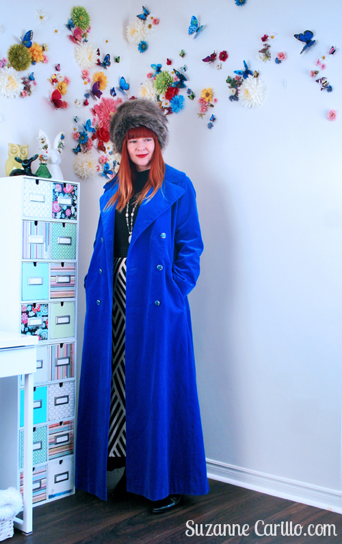 Look taller by dressing taller in a vintage opera coat and hat.