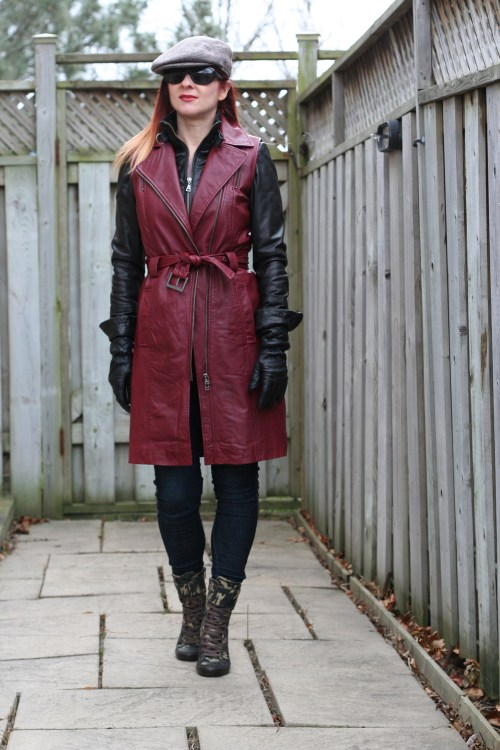 danier red leather coat vest