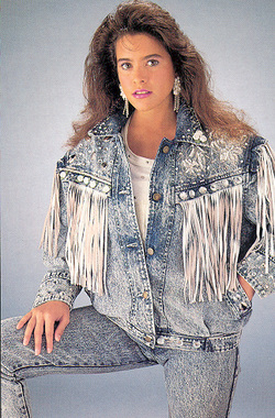 fringed acid wash jean jacket