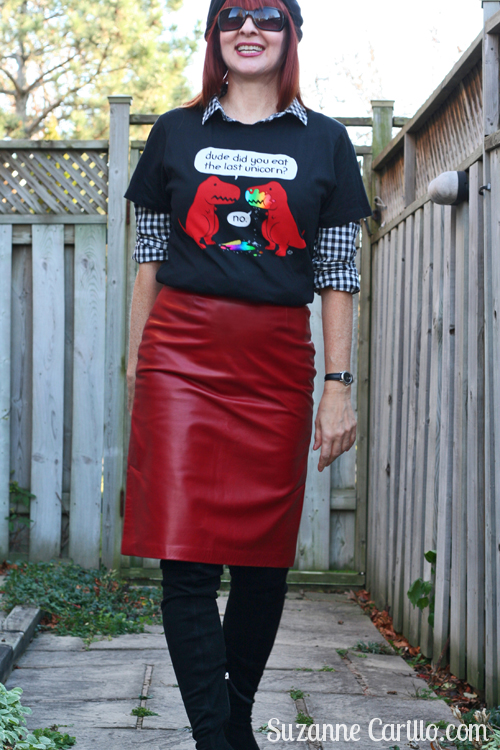 how to style a red leather skirt over 40 suzanne carillo