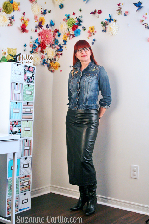 how to wear a long leather skirt suzanne carillo style for women over 40