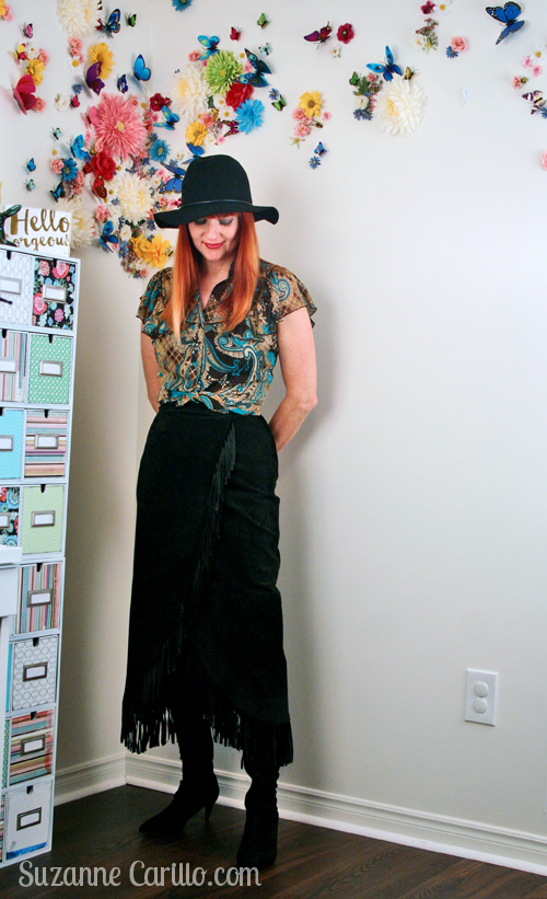 how to wear a suede fringe skirt over 40 suzanne carillo