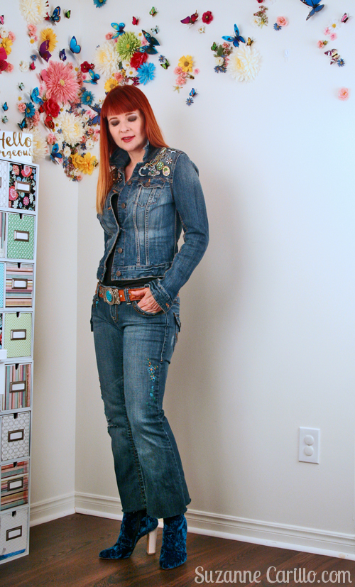 DIY brooch collection jean jacket and DIY embroidered jeans suzanne carillo style over 40