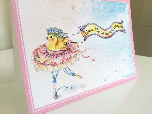 Dancing Chick hand painted watercolour bird greeting card dance suzanne carillo