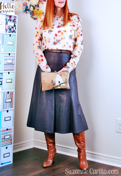 how to wear florals and leather over 40