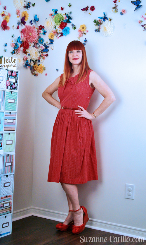 red vintage dress styled contemporary