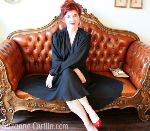 1980s vintage dynasty dress in black crepe suzanne carillo