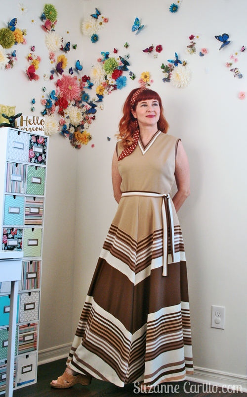 how to wear 1970s maxi style dress over 40 suzanne carillo