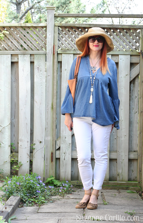 H&M denim blouse and white jeans over 40 style for women suzanne carillo