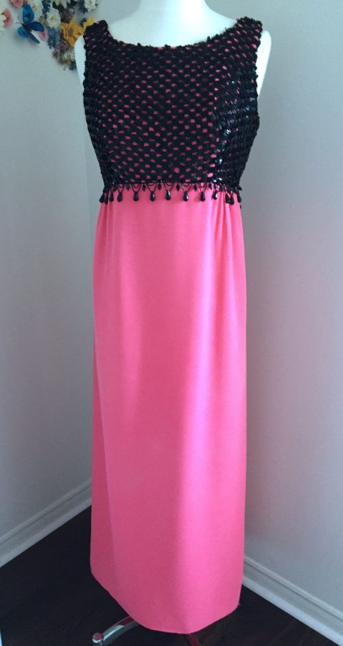 1960s black and pink vintage beaded with sequins cocktail dress for sale vintagebysuzanne on etsy
