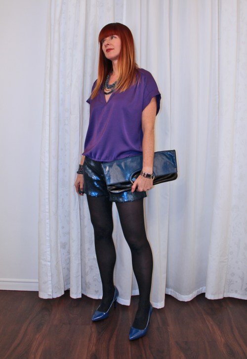 blue sequin shorts purple BCBG top Suzanne Carillo