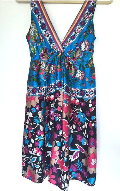 blue silk marciano dress
