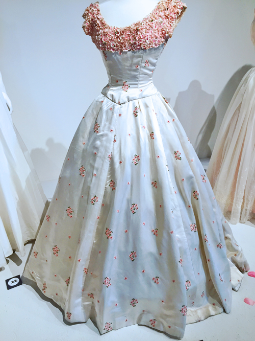 vintage 1950s wedding gown with roses cambridge fashion history museum