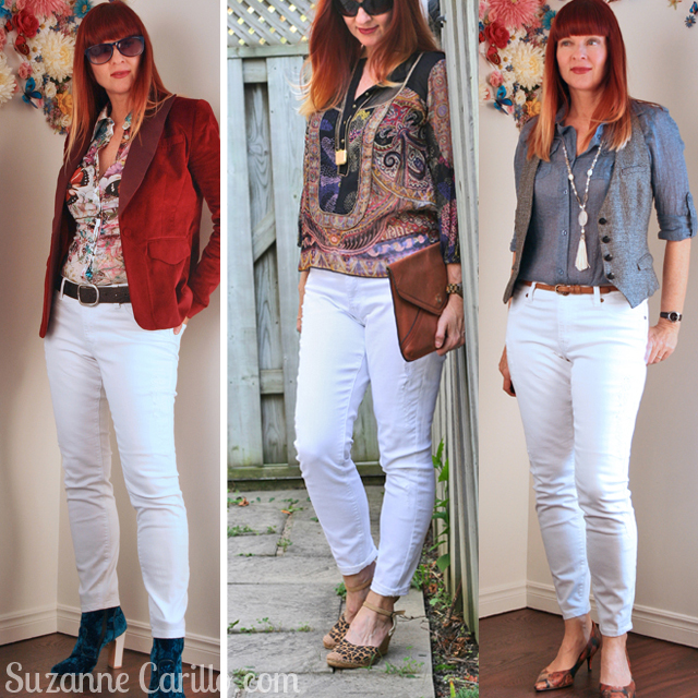 how to wear white jeans over 40 suzanne carillo style