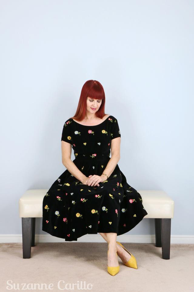 Embroidered black vintage velvet dress 1950s vintage by suzanne Toronto vintage clothing show