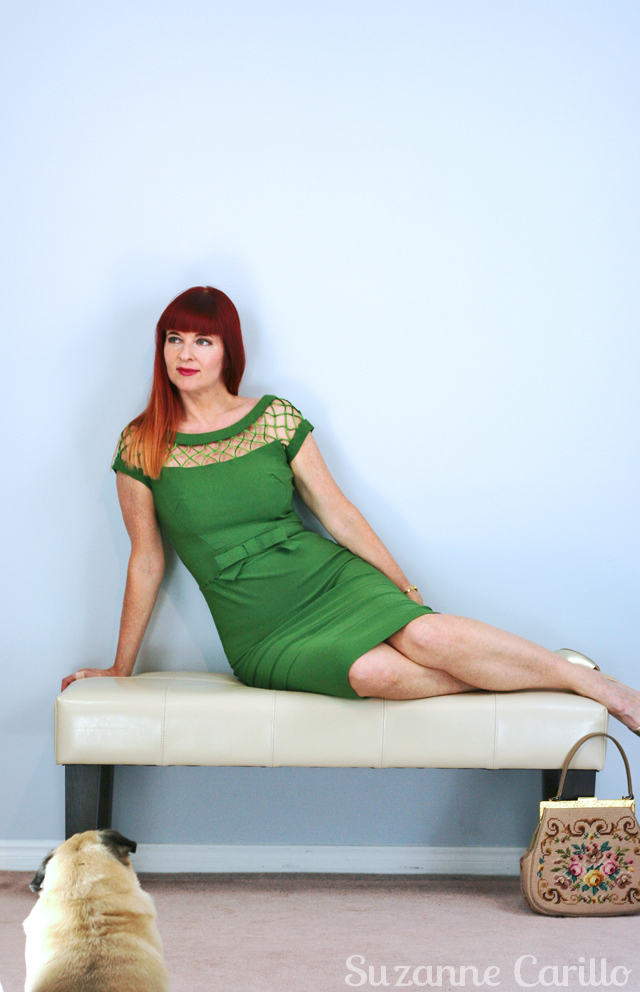 green vintage dress suzanne carillo