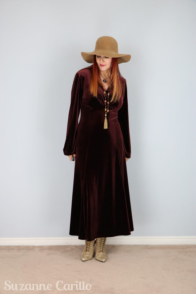 Must have Hat and velvet boho dress for fall. 5 must haves for fall.