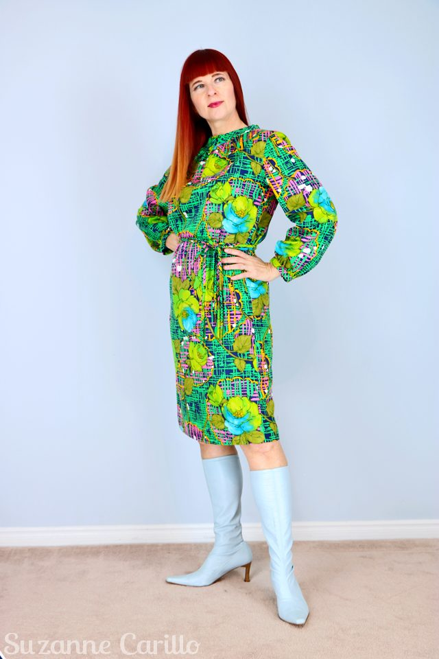Thrift Shopper Fighting Techniques 1960s-vintage-green-blue-handmade-dress-for-sale-vintagebysuzanne-on-etsy