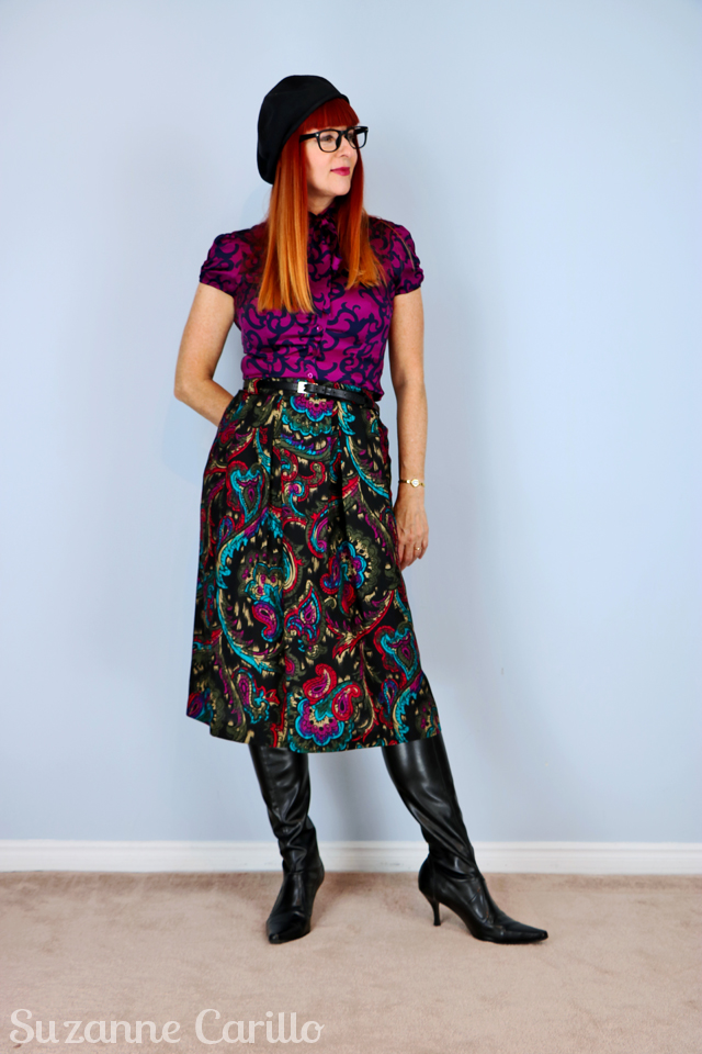 black red teal paisley skirt with pockets for sale on etsy vintagebysuzanne