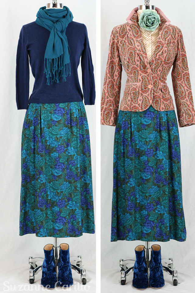 Vintage floral skirt styled two ways style for women over 40 Suzanne Carillo
