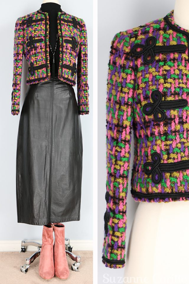 Friday fresh vintage picks for women over 40 that love vintage style and quality. Boucle embellished vintage jacket for sale vintagebysuzanne on etsy