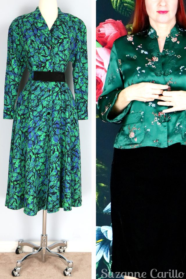vintage green kimono top and vintage green dress for sale vintagebysuzanne on etsy