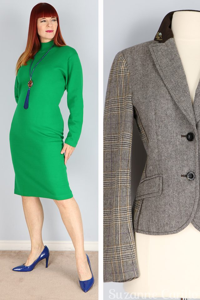 Friday fresh vintage picks for women over 40 that love vintage style and quality. Vintage green wool spanner dress and fitted equestrian style blazer for sale vintagebysuzanne on etsy
