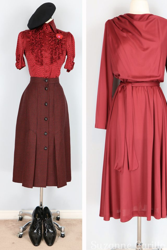 Friday fresh vintage picks for women over 40 that love vintage style and quality. Vintage red draped neck dress and vintage houndstooth wool midi skirt for sale vintagebysuzanne on etsy