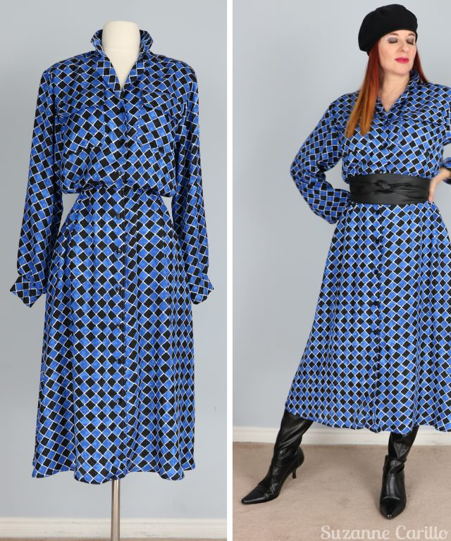 vintage 1980s blue black patterned midi dress for sale buy now vintagebysuzanne on etsy