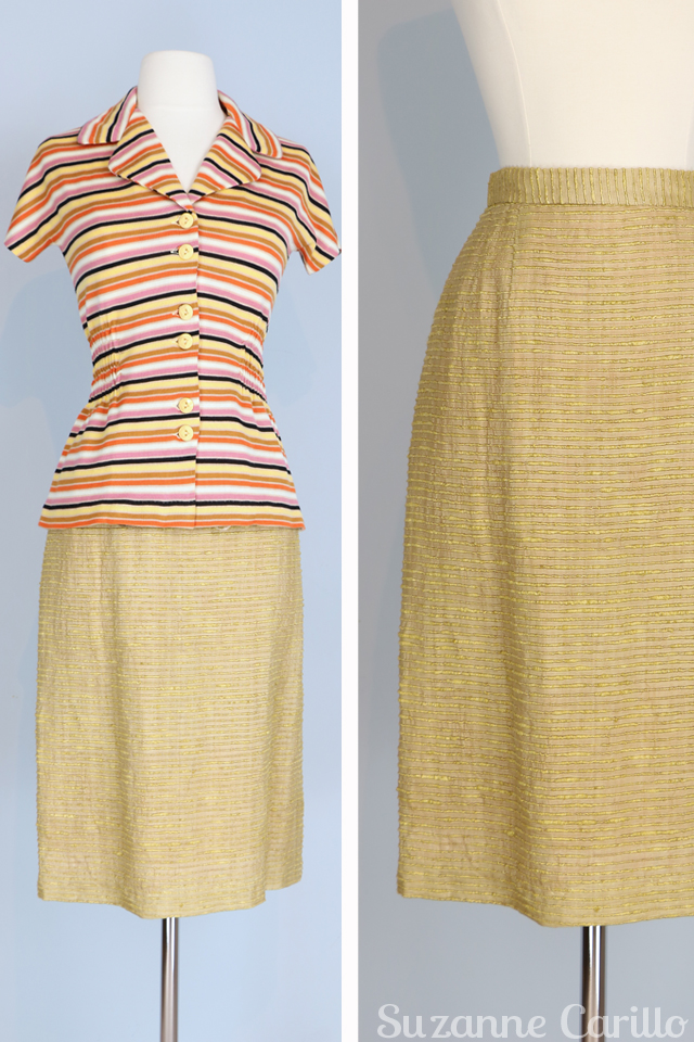 vintage gold textured skirt for sale size small