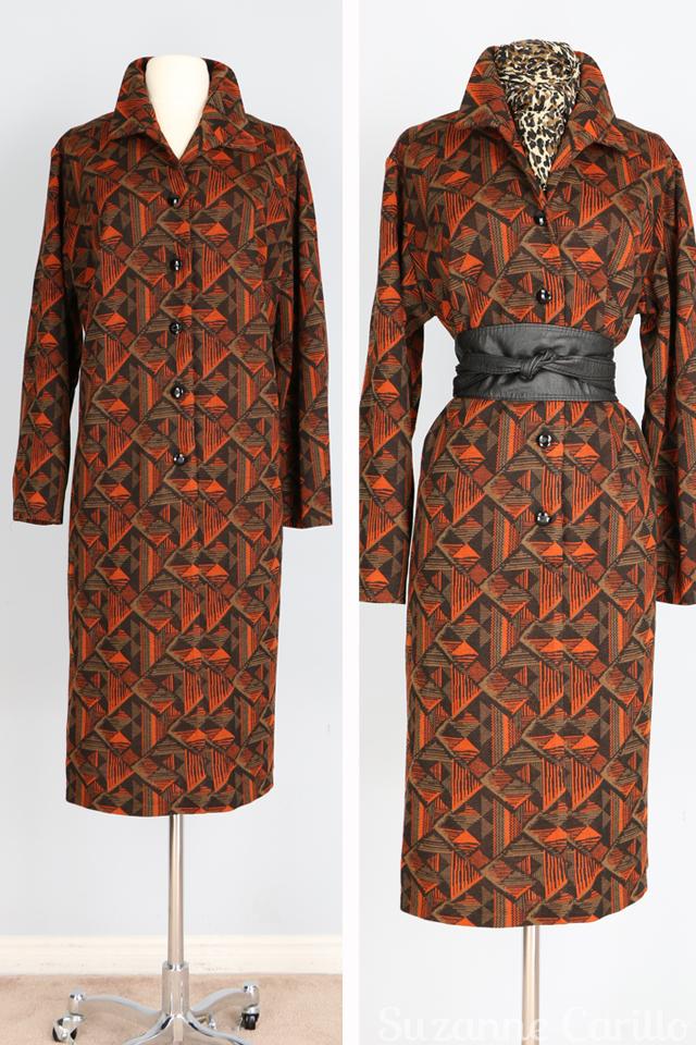 vintage wool coat dress orange brown size M
