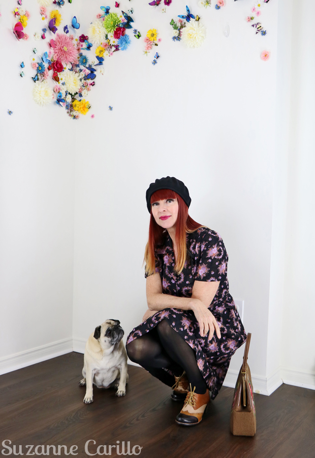 vintage dress by way of hong kong with pug suzanne carillo style for women over 40