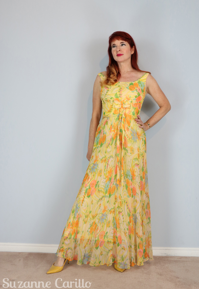 How to stretch back shrunken clothing. Buy 1950s lemon silk chiffon maxi dress online