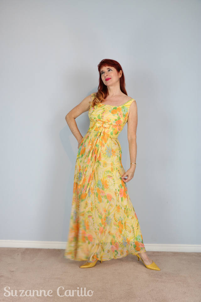 buy vintage 1950s lemon chiffon maxi dress online suzanne carillo style for women over 50
