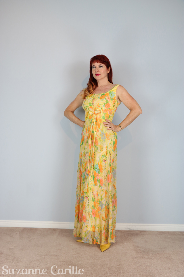 vintage lemon chiffon maxi dress 1950s