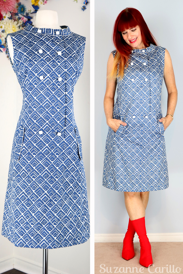 1960s blue graphic shift dress suzanne carillo