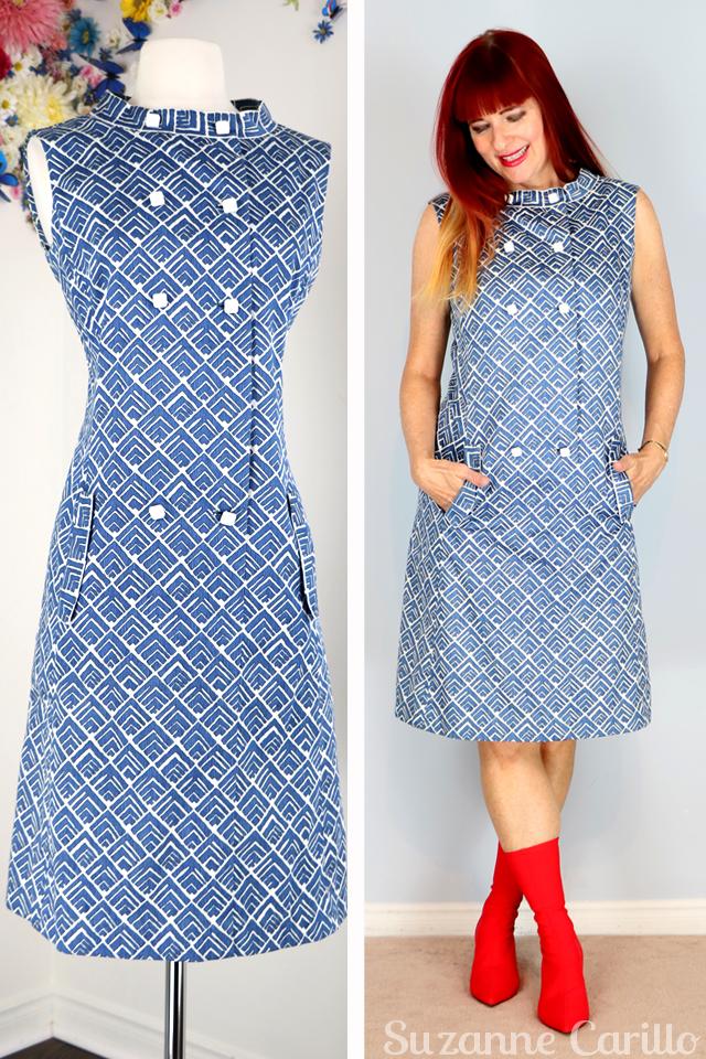 1960s blue graphic shift dress suzanne carillo