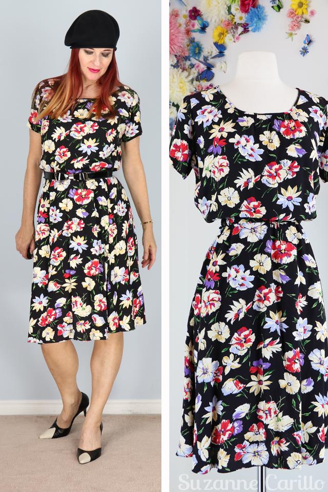 1980s black floral rayon dress suzanne carillo