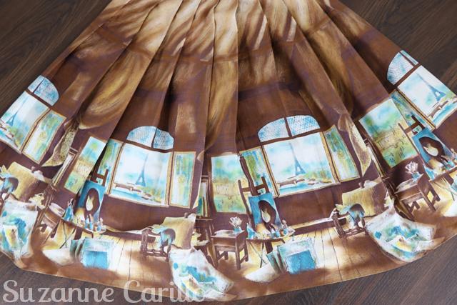 buy 1950s novelty print pleated patterened skirt online