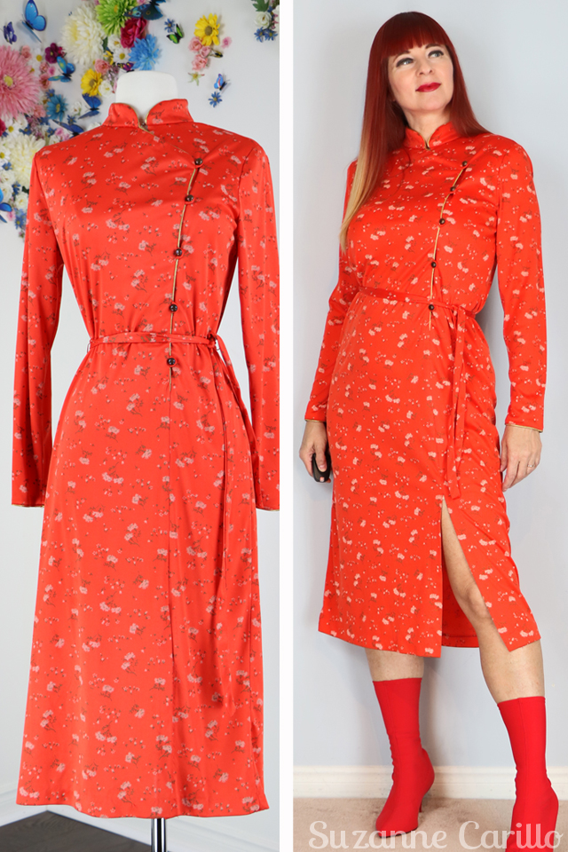 orange red chinese dress suzanne carillo