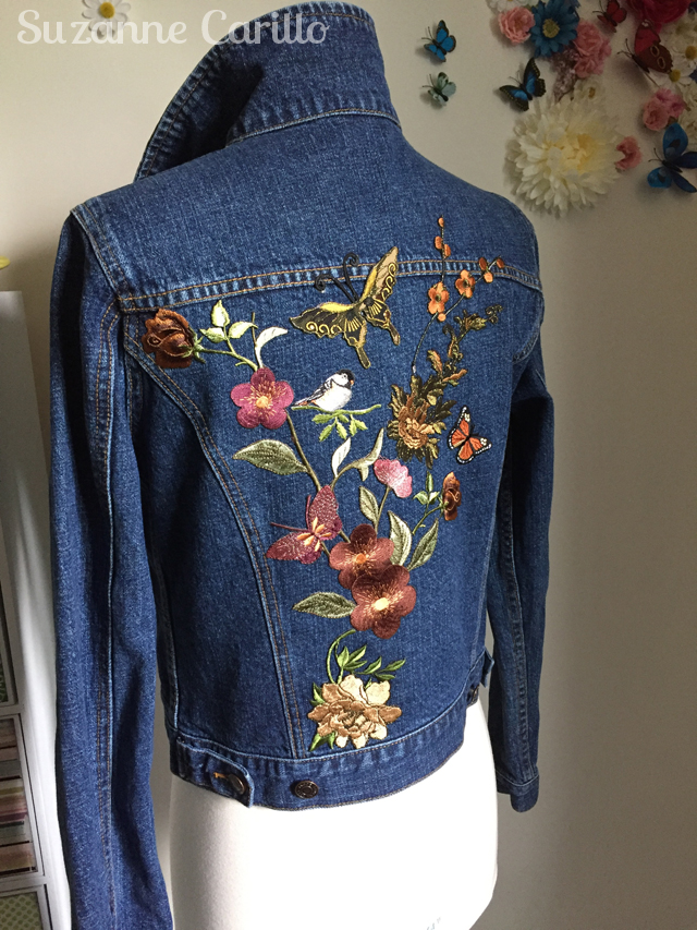 DIY embroidered patched jean jacket