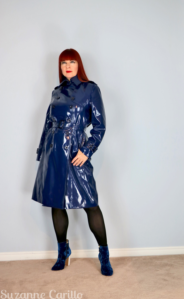 blue vinyl trench coat suzanne carillo style