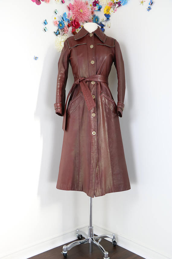 classic 1970s leather trench coat for sale