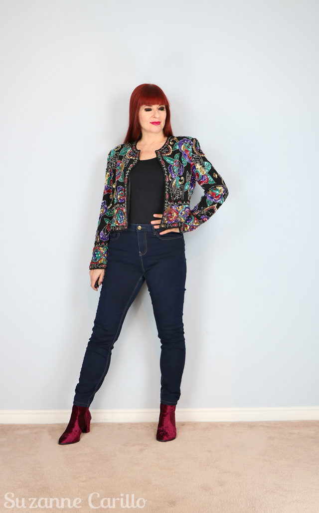 how to style a vintage sequinned jacket by suzanne carillo