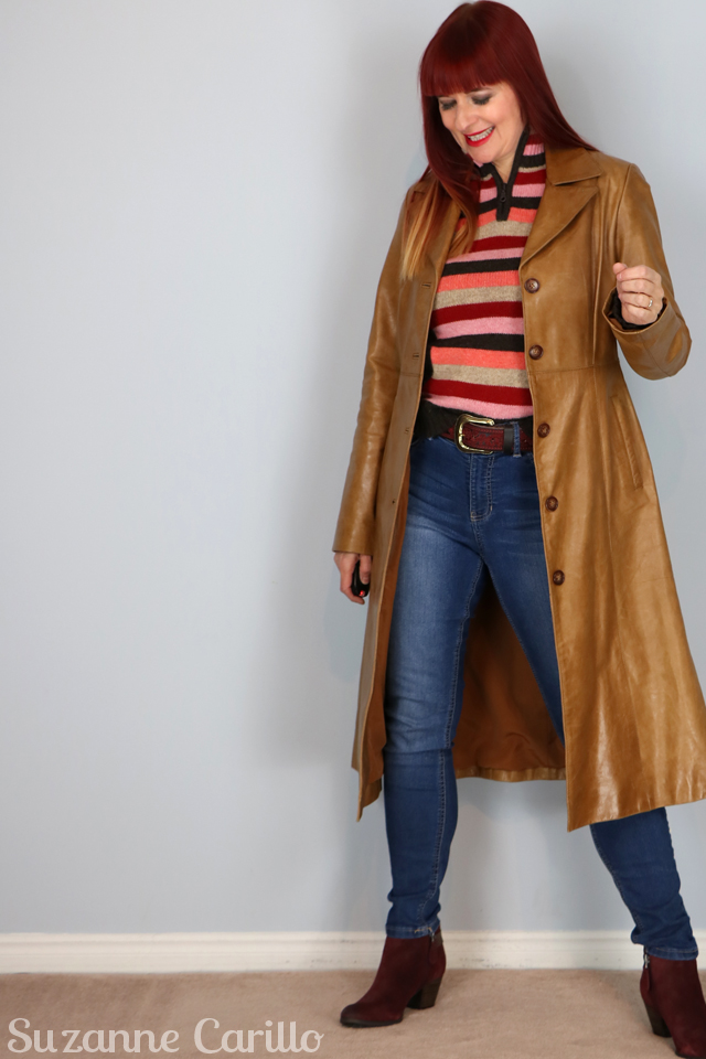 how to wear a long leather coat over 40 suzanne carillo