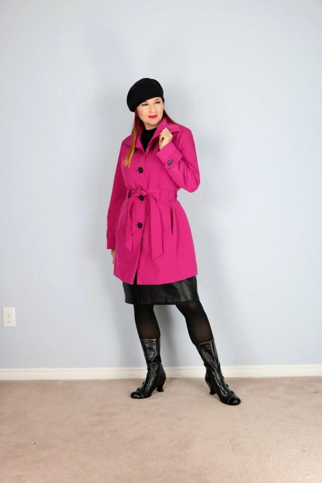 vintage london fog trench coat in pink for sale