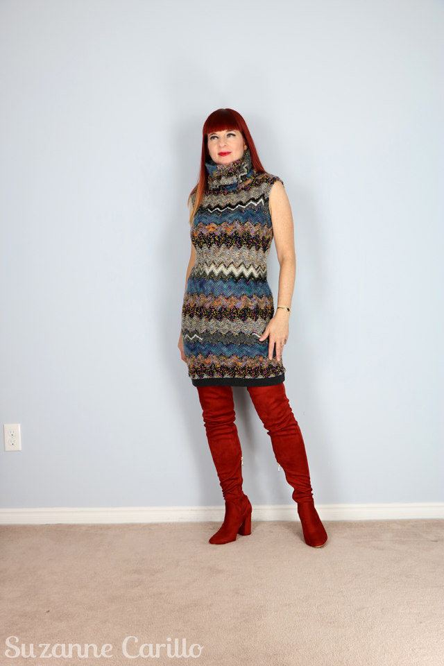 how to style a sweater dress with thigh high boots over 40