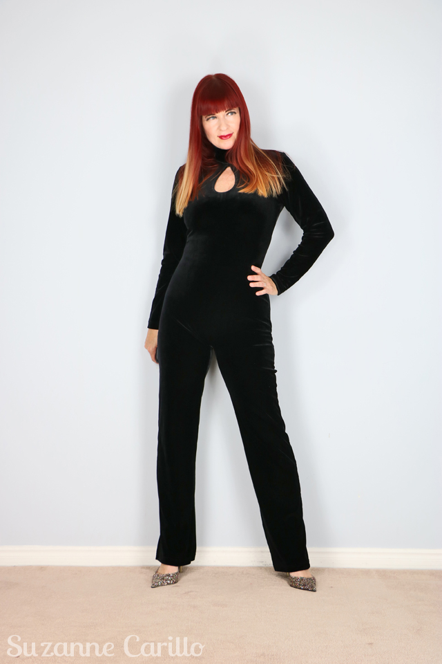 black velvet cat suit emma peel suzanne carillo
