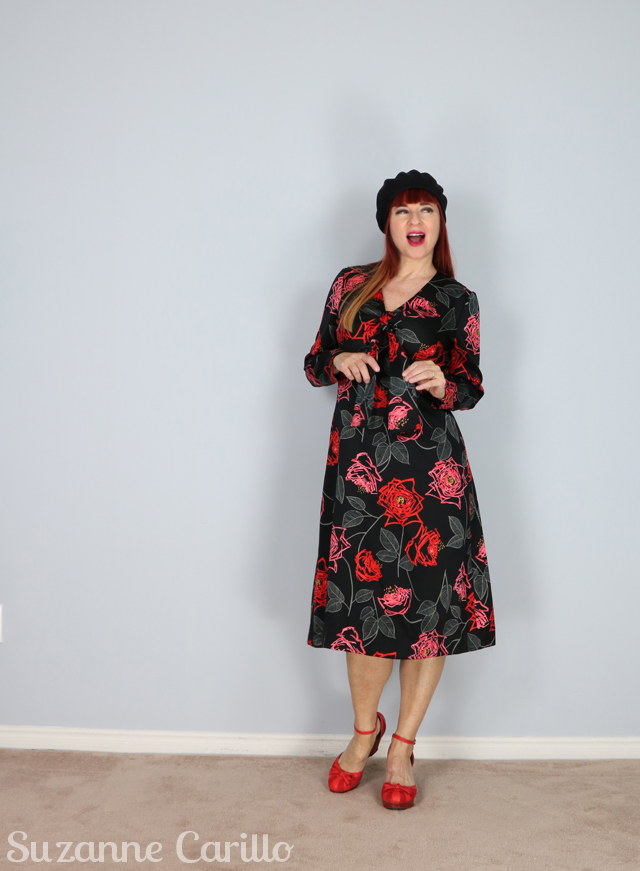 black red floral vintage dress suzanne carillo